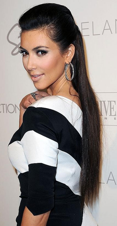 Kim Kardashian Dark Straight Hair