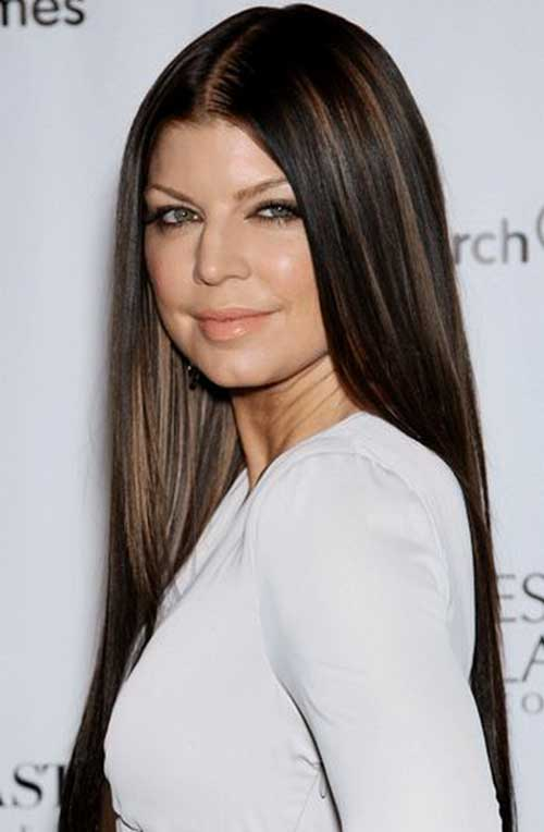 Dark Brown Hairstyles with Caramel Highlights