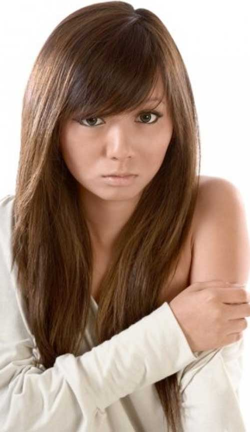25 Hairstyles With Long Bangs Hairstyles Amp Haircuts 2016