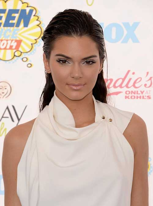 Kendall Jenner Slicked Back Straight Hairstyle