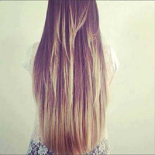 Long Straight Hair with Ombre