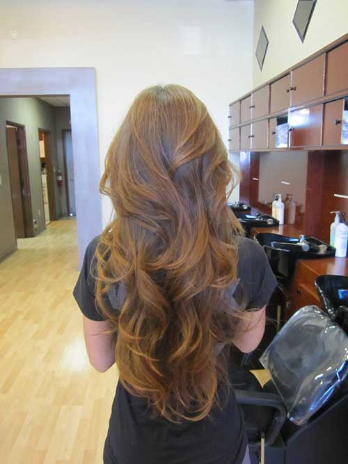 Beautiful V Cut Long Wavy Hairstyles Layers