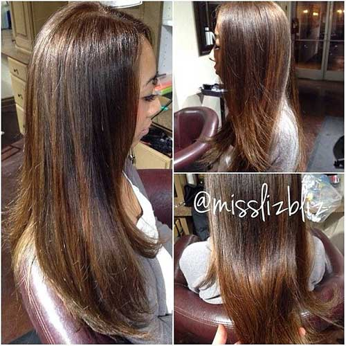 Brown Straight Hair with Honey Color