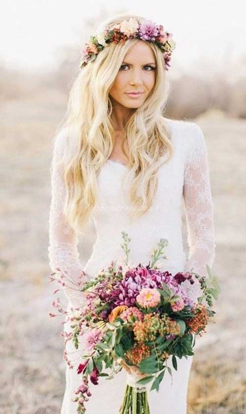 Flower Crown Beach Wedding Hair Styles