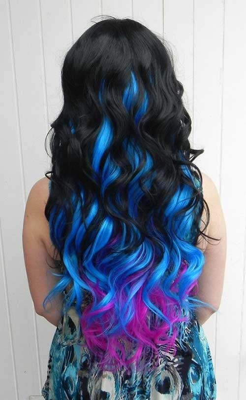 Black Blue and Purple Curly Hair