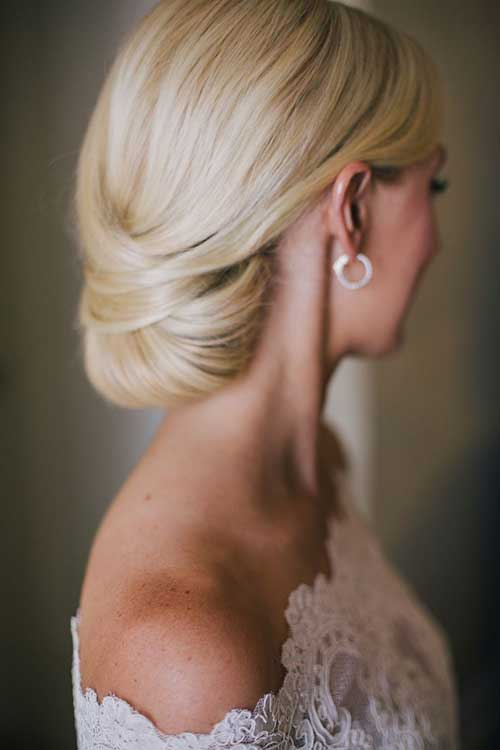 Soft Blonde Hair Low Bun for Weddings