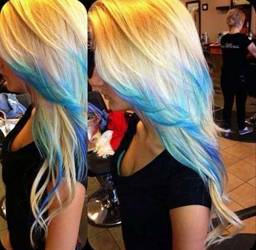 Best Blonde Hair with Blue Tips