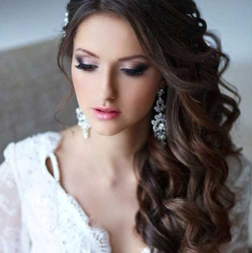 Brunette Curly Wedding Hairstyles