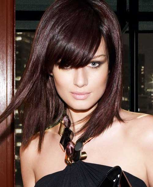 Brunette Hair Color with Blunt Side Bangs