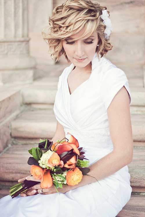 Casual Curly Bridal Short Hair