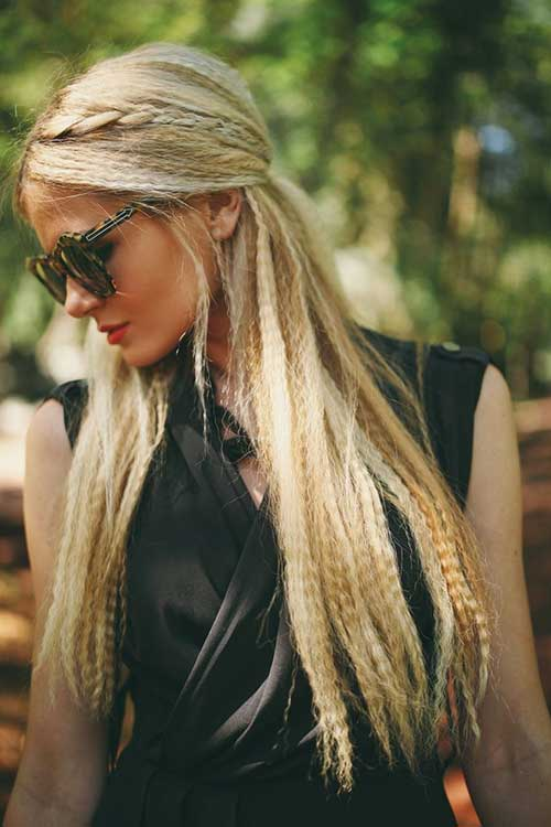 Crimping Iron Long Hair with Braids