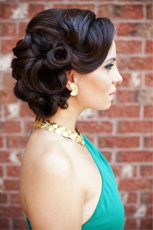 Dark Curly Bridal Hairstyles