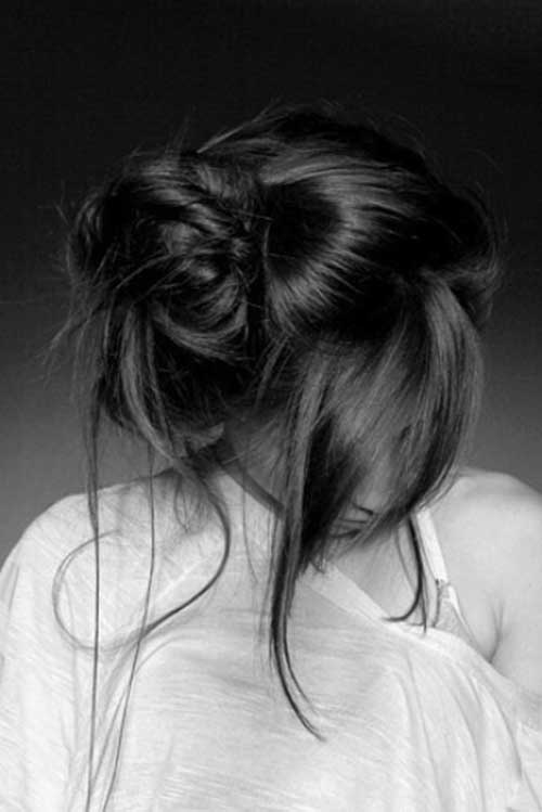 Cute Messy Bun Straight Hairstyles