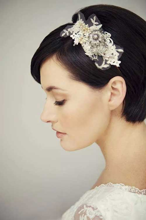 Dark Straight Bob Wedding Hairstyle For Short Hair