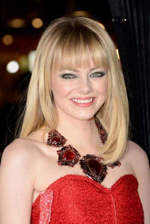 Emma Stone Blunt Bangs on Medium Bob