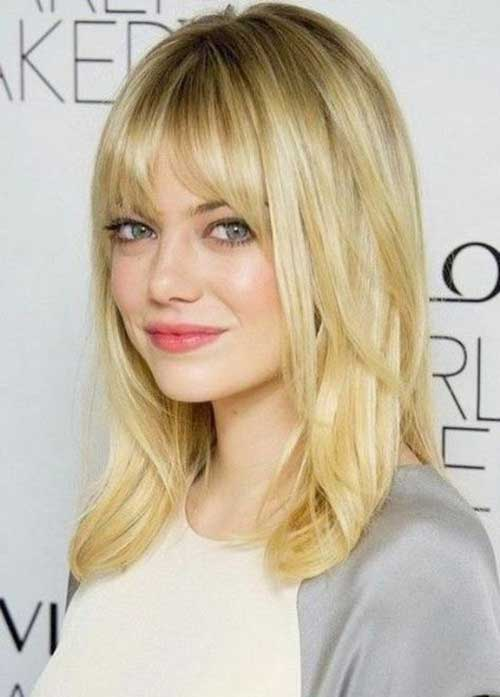 20 best medium hair cuts with bangs hairstyles haircuts 2016 emma stones blonde medium length straight hair with bangs urmus Gallery