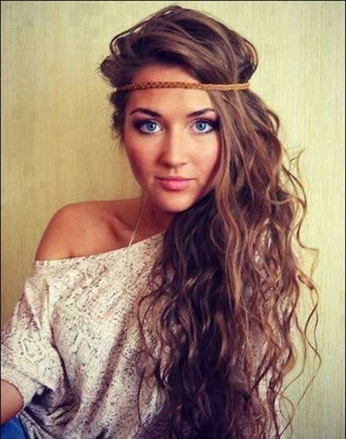 Boho Hairstyles for Curly Long Hair