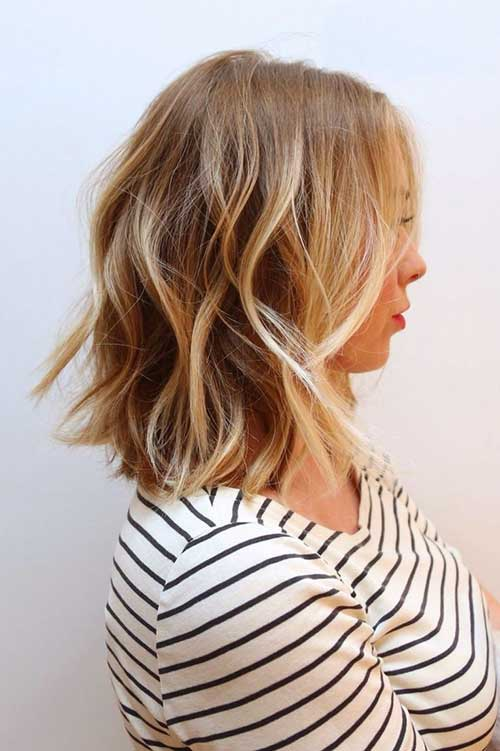 Highlighted Wavy Long Bob