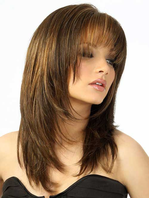 Chic Layered Cut with Bangs Hairstyles For Round Faces