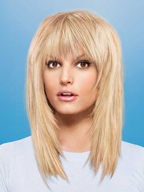 Beautiful Medium Length Hairstyles With Bangs Photos - Styles ...