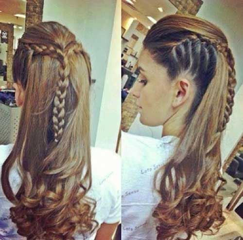 Crown Braid Long Braided Hairstyle With Curly Ends