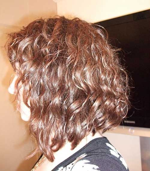 Long Curly Inverted Bob Haircuts