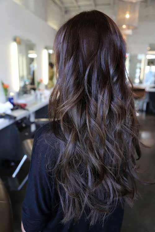 Long Dark Hair Layered Style For Women