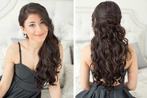 Brunette Long Hair Prom Styles