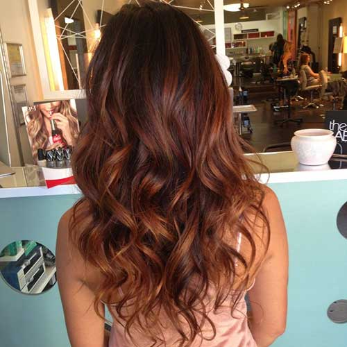 Warm Brown Long Layered Curly Hairstyles