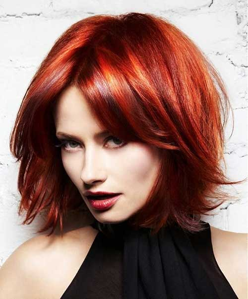 Red Colored Thick Messy Bob