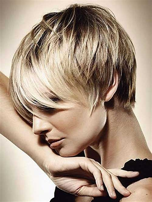 Short Blonde Hairstyles with Long Bangs