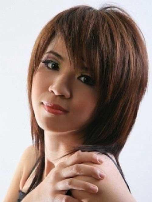 Short bangs medium length layered hairstyles