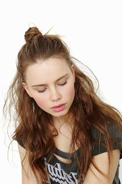 Best Messy Wavy Curly Half Updo Hairstyles