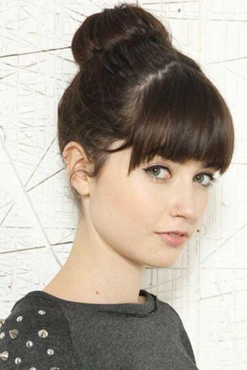 Surprising 20 Bun Hairstyles With Bangs Hairstyles Amp Haircuts 2016 2017 Short Hairstyles Gunalazisus