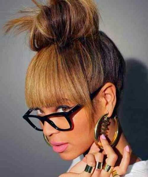 Bun Hairstyles with Bangs-19