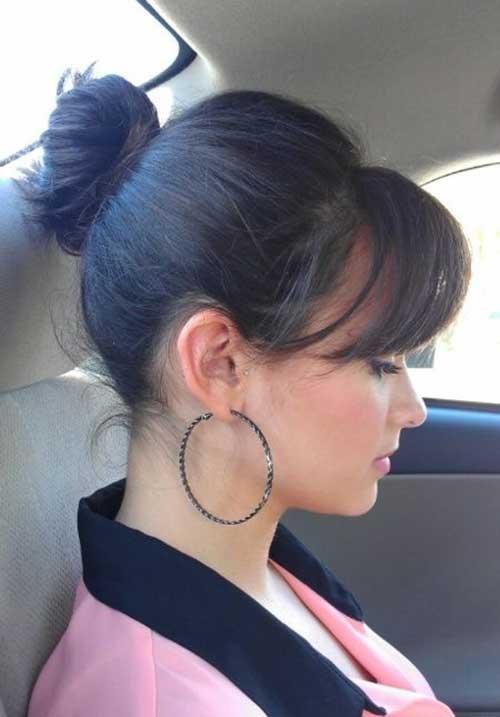 Remarkable 20 Bun Hairstyles With Bangs Hairstyles Amp Haircuts 2016 2017 Short Hairstyles Gunalazisus