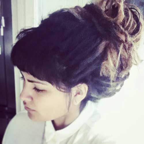 Bun Hairstyles with Bangs-6