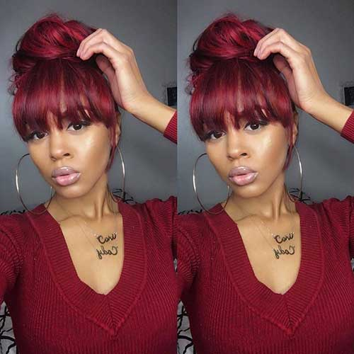 Surprising 20 Bun Hairstyles With Bangs Hairstyles Amp Haircuts 2016 2017 Short Hairstyles For Black Women Fulllsitofus