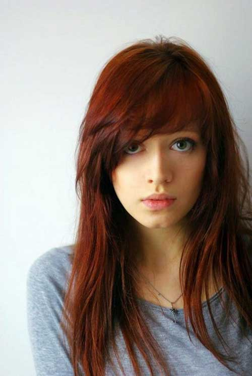 Hairstyles with Side Swept Bangs-17