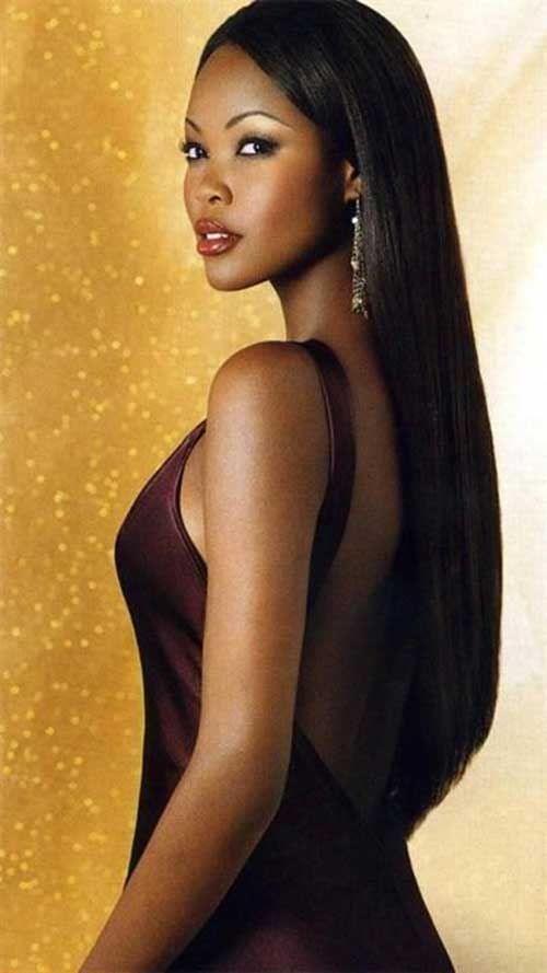 Beautfiul Straight Hairstyles for Black Women with Long Hair