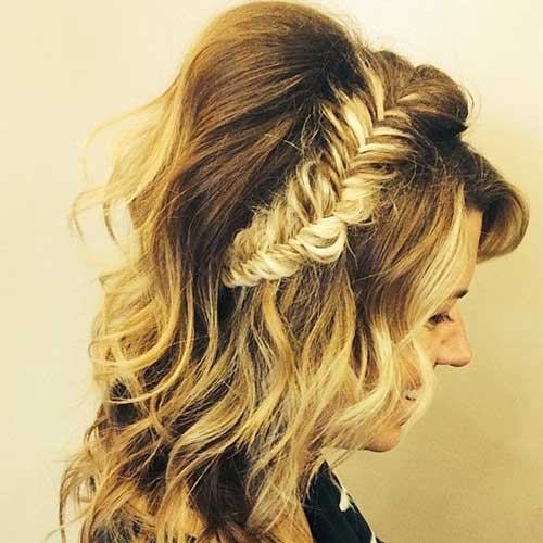 Braided Crown Down Hairstyles for Prom