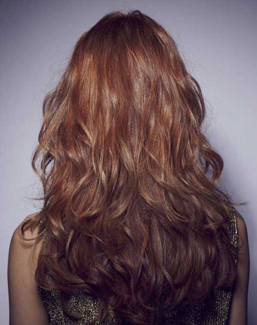 Curly Wavy Long Layered Hairstyles Back View