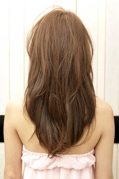 Long layered hair v shape back view