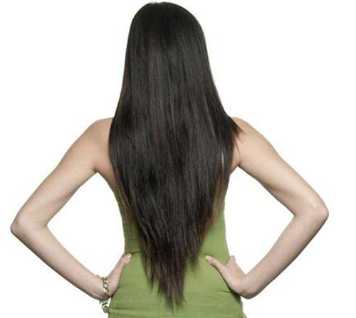 Long Layered V Shaped Hair Back View Look