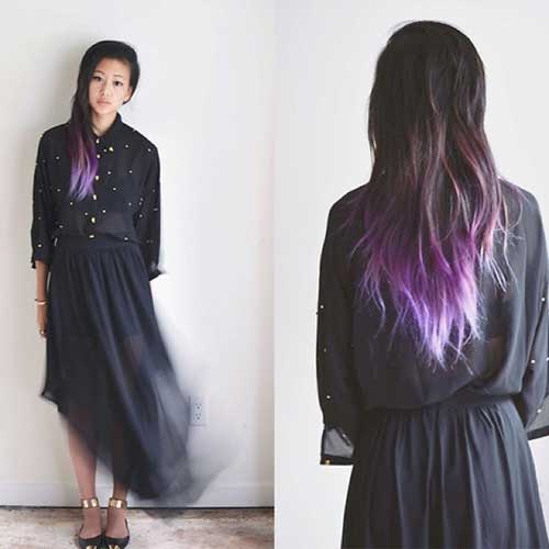 Long Purple Ombre Asian Hairstyles