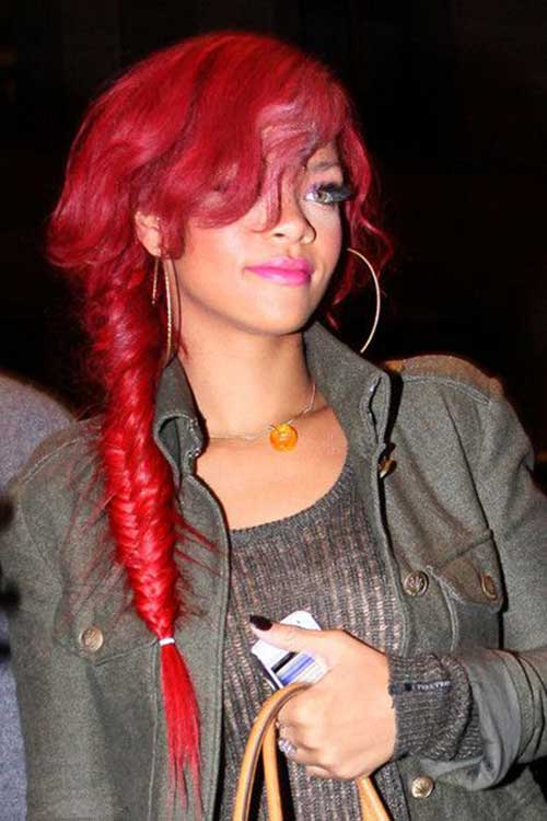 Best Long Red Hairstyles Rihanna