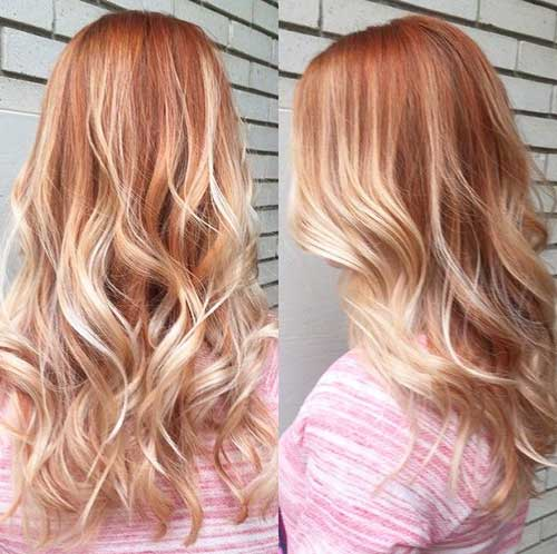 Long Strawberry Blonde Ombre Hair
