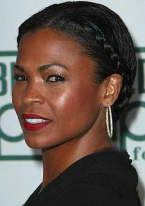 Nia Long Two Cornrows Braids Bun