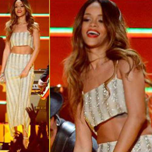 Rihanna Blonde Hairstyles Long Hair Pictures