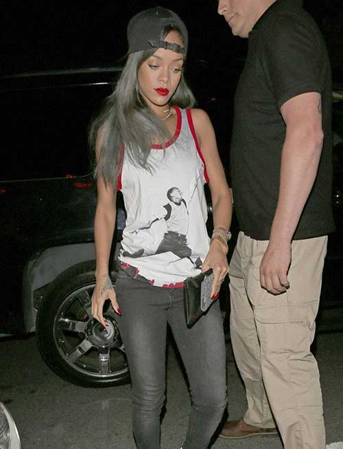 Rihanna Long Grey Hair Styles